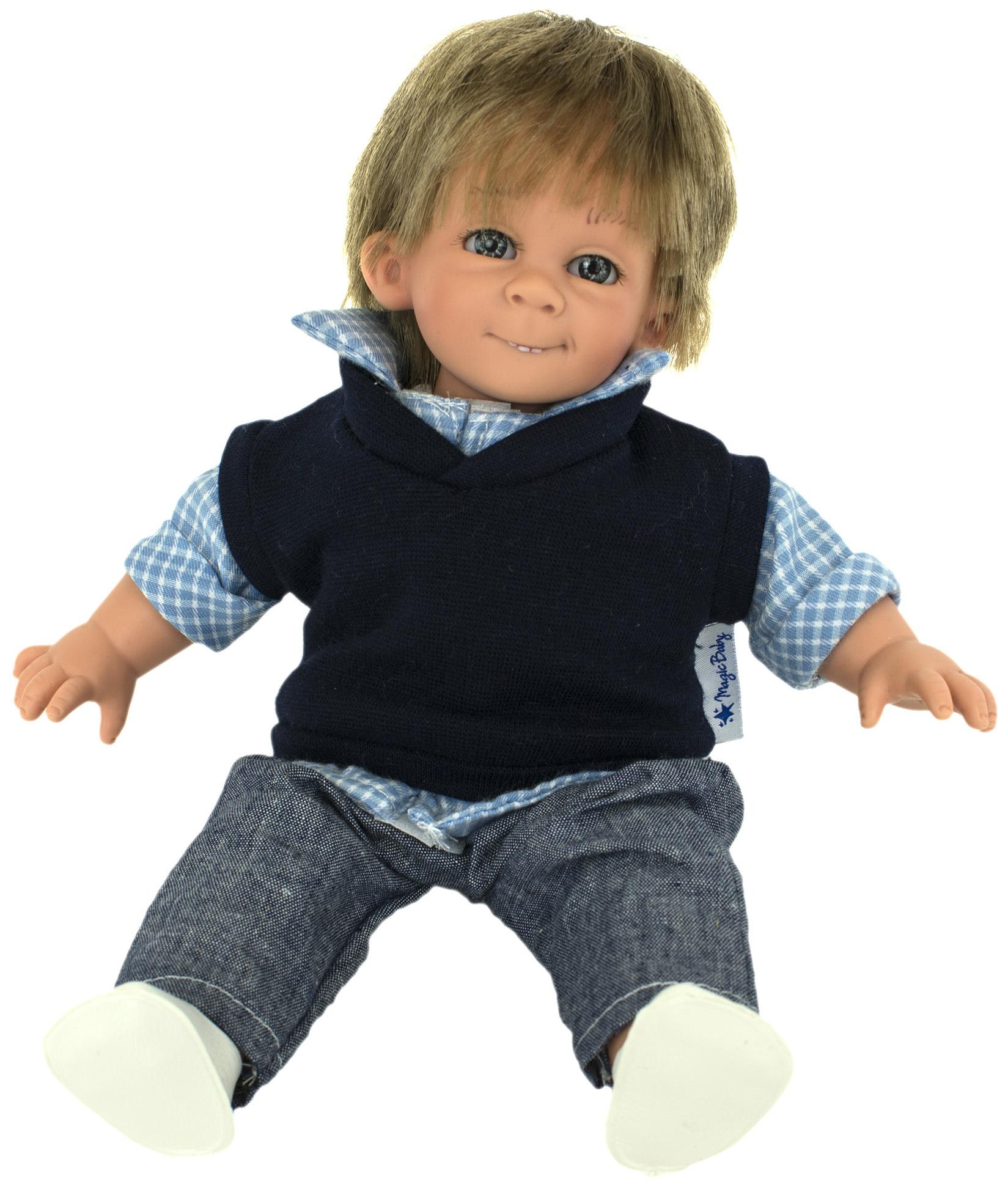 Кукла Lamagik Джестито Мальчик в клетчатой рубашке джинсах и шапочке 28 см
