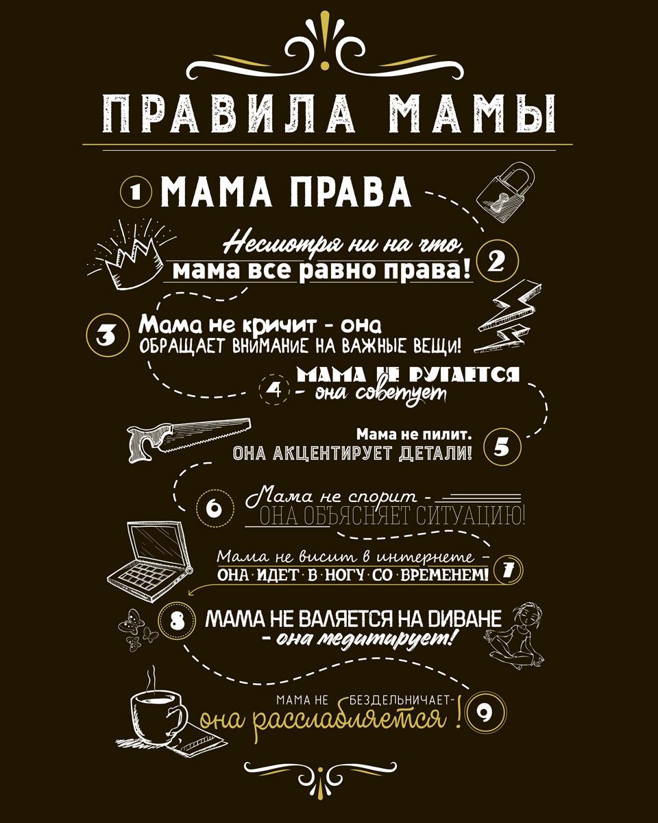 """Картина на холсте 40x50 см """"Правила мамы 2"""" Ekoramka HE-102-232"""