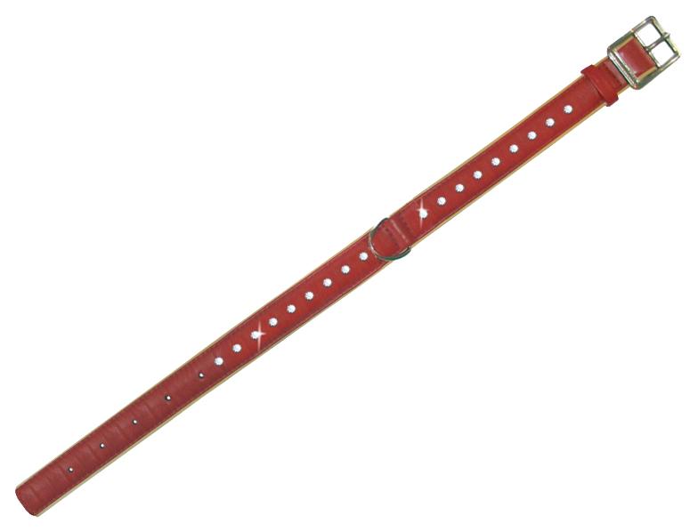 Ошейник для собак CoLLaR brilliance со стразами маленькими 30-39см красный 387630