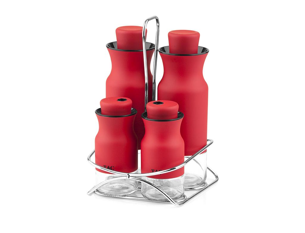 Набор для масла и специй TAC, 5 предметов, красный