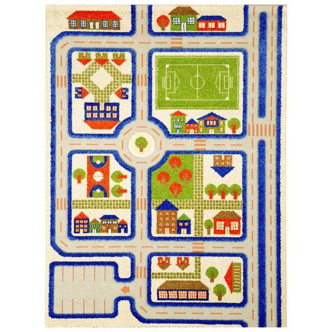 Детский игровой 3D-ковер Трафик, синий, 160 х 230 см