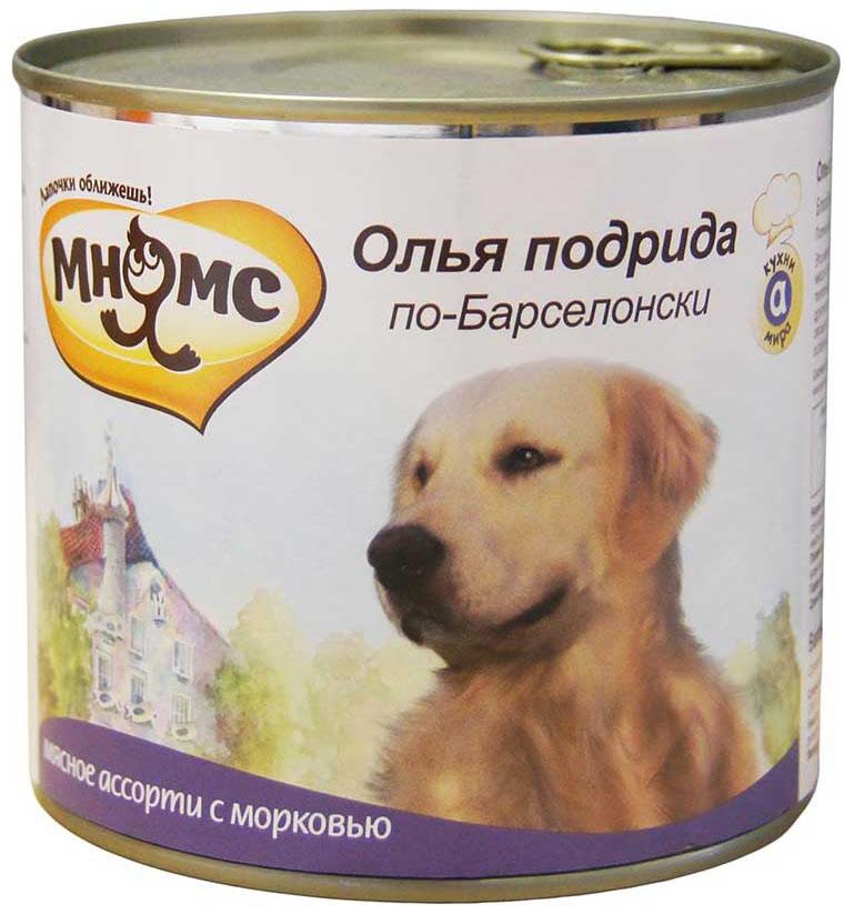 Консервы для собак Мнямс Олья Подрида по-Барселонски, мясное ассорти с морковью, 600 г
