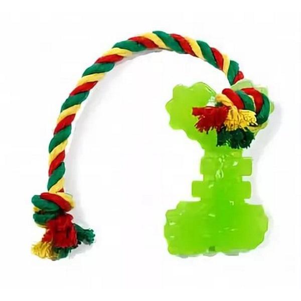 Жевательная игрушка для собак DOGLIKE Ключ с канатом и этикеткой, зеленый, длина 10 см