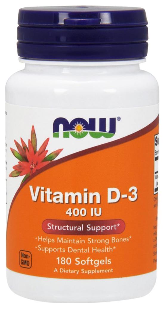 Купить Витамин D NOW Vitamin D-3 400 Me 180 капс.