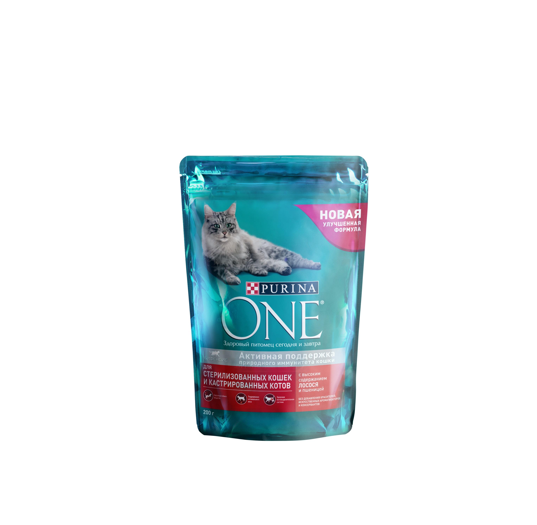 Сухой корм для кошек Purina One, для стерилизованных, лосось, пшеница, 0,2кг фото