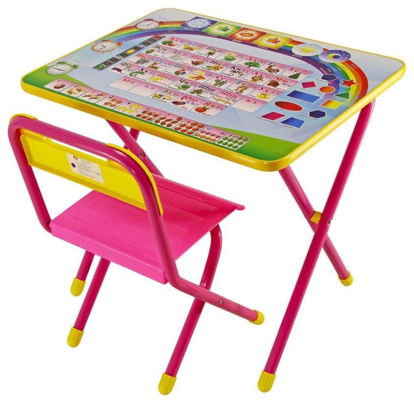 Купить Комплект детской мебели Дэми №1 Алфавит Стол+стул Розовый,