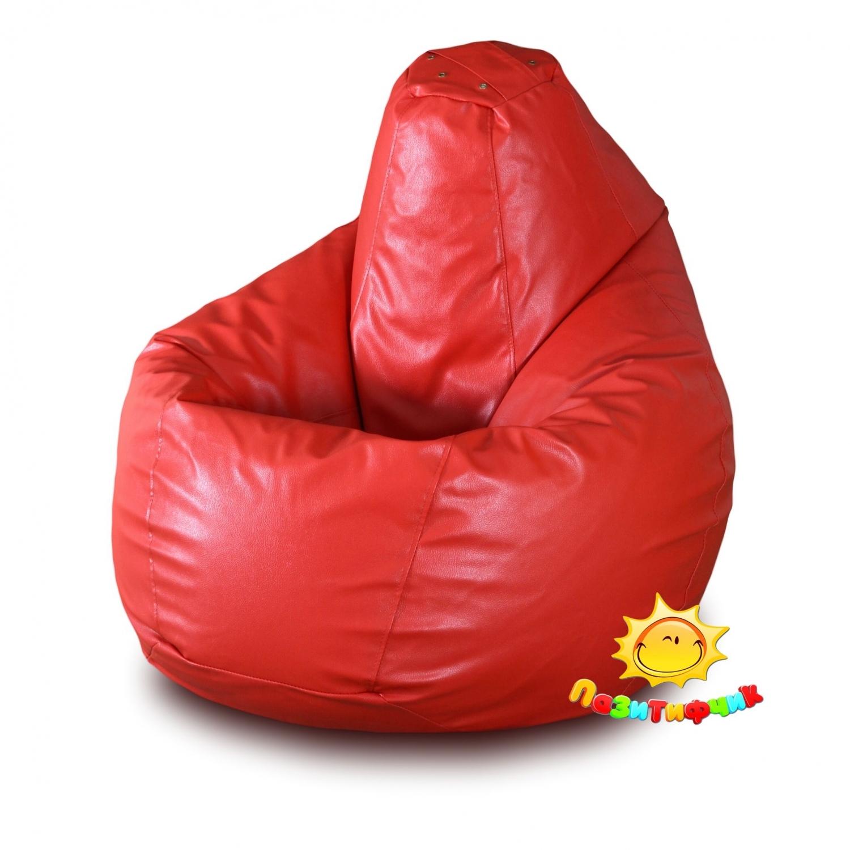 Кресло-мешок Pazitif Груша Пазитифчик Экокожа, размер L, экокожа, красный фото