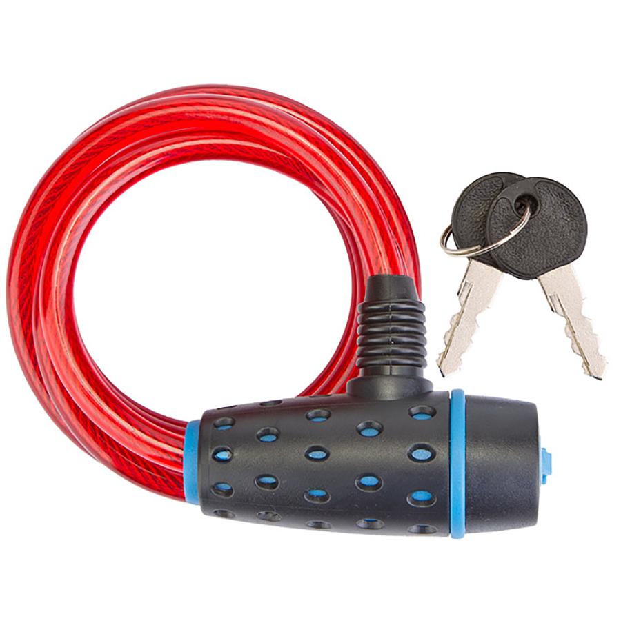 Трос-замок 87318 (1800 мм) d 8mm, Черно-синий/Красный