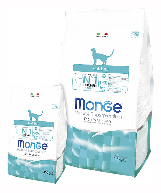 Сухой корм для кошек Monge Hairball, для выведения шерсти, курица, 0,4кг