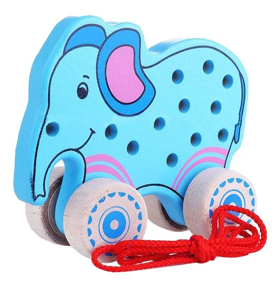 Купить Деревянная шнуровка-каталка Alatoys Слоненок , Алатойс, Шнуровки для детей