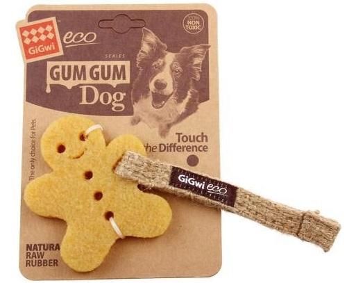 Жевательная игрушка для собак GiGwi Маленький пряник, желтый, длина 10 см