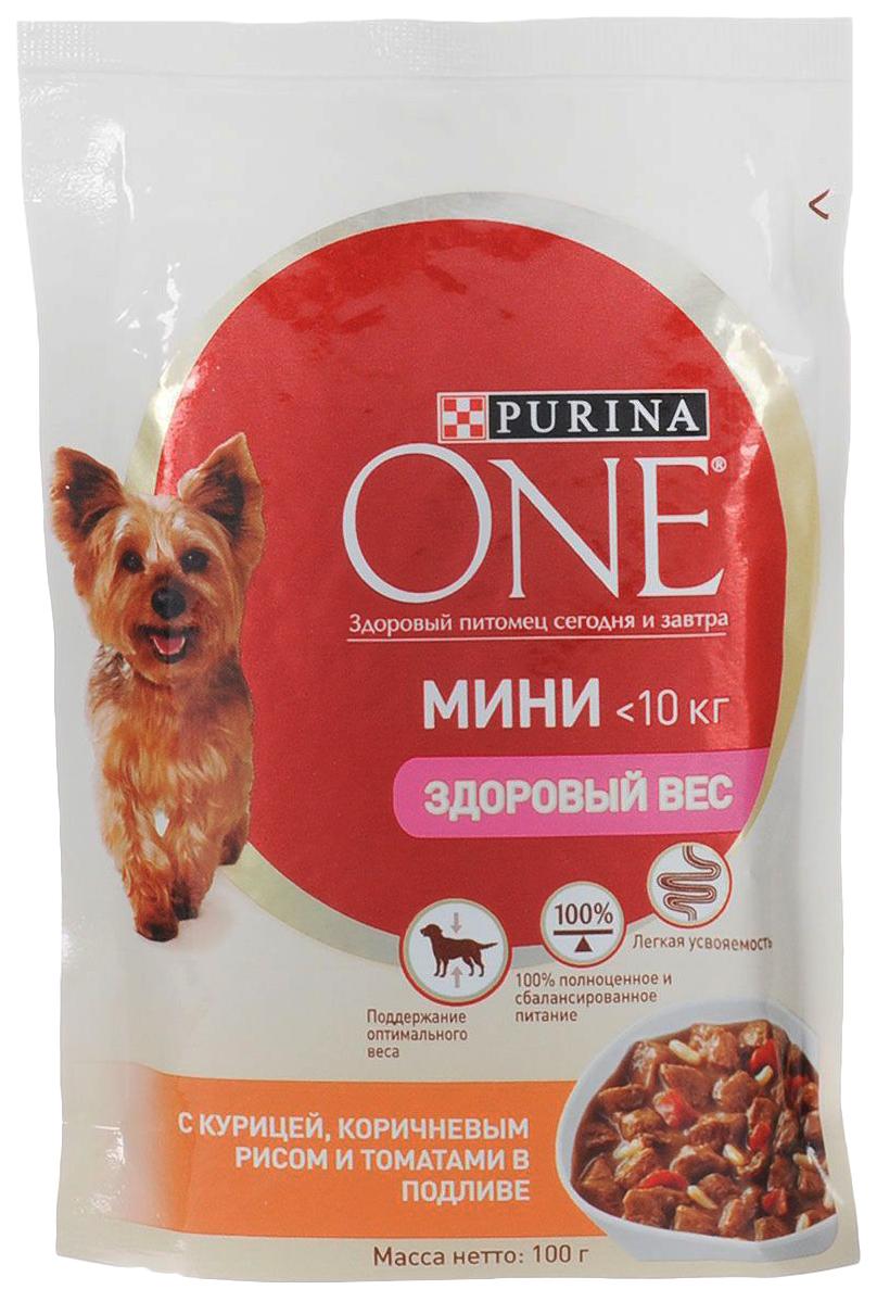 Влажный корм для собак Purina One Моя Собака... Любитель Поесть, курица, рис, томаты, 100г