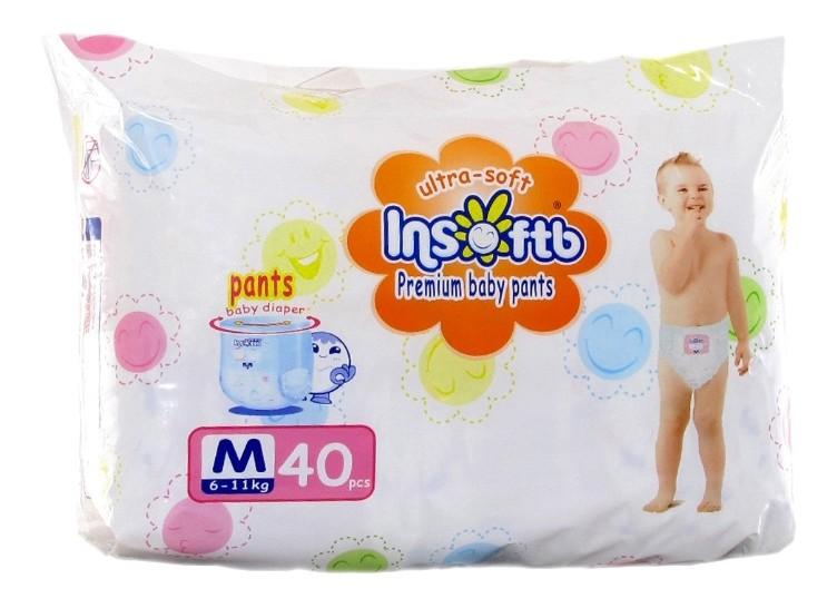 Купить Трусики-подгузники Insoftb Premium Ultra-Soft M (6-11 кг), 40 шт., Подгузники-трусики