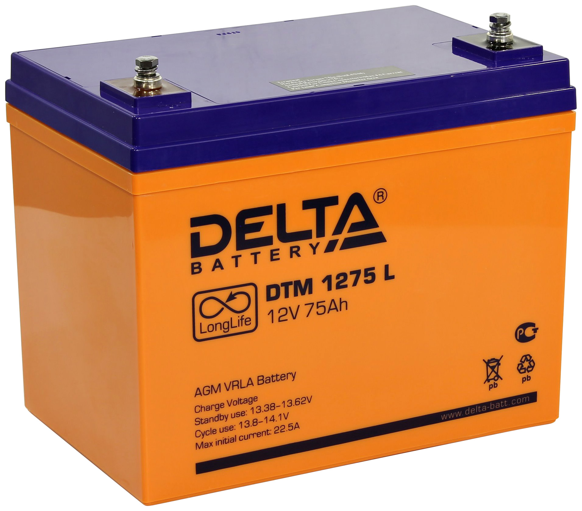Аккумулятор Delta Для систем бесперебойного питания 75 Ач Обратная полярность фото