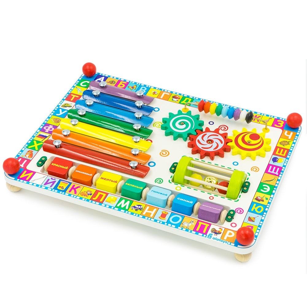 Развивающая игрушка бизиборд веселая радуга Alatoys ББ503
