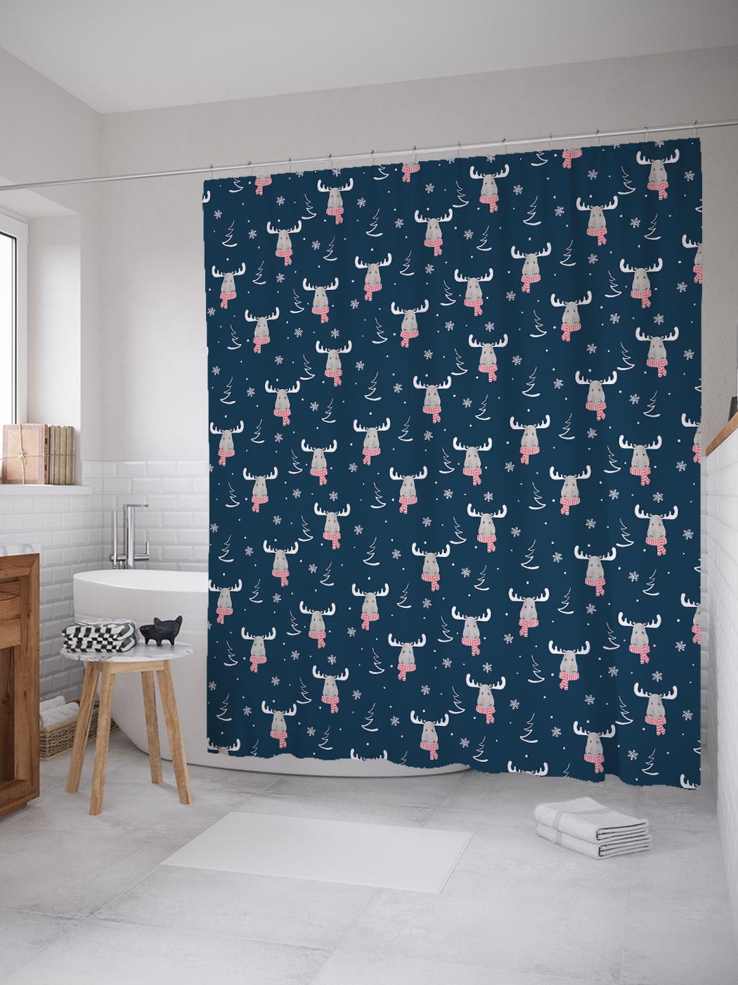 JoyArty Штора (занавеска) для ванной «Модный лось» из ткани, 180х200 см с крючками