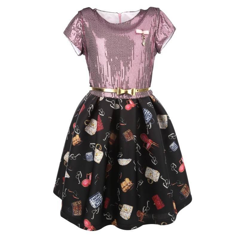 Купить Платье Неопреновый принт UNONA D'ART, цв. черный, 146 р-р, Детские платья и сарафаны