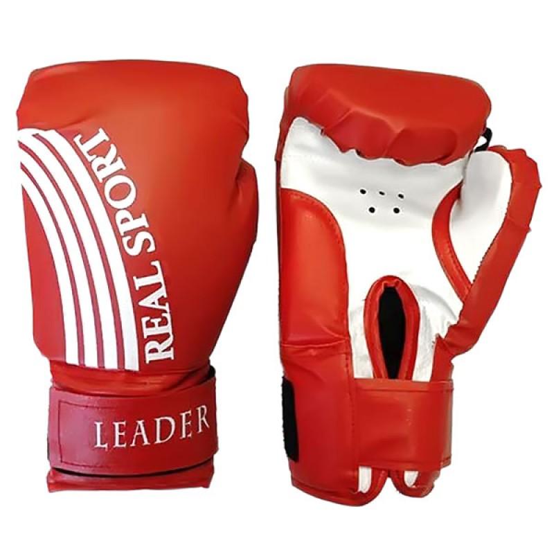 Боксерские перчатки тренировочные Leader красные 10 унций