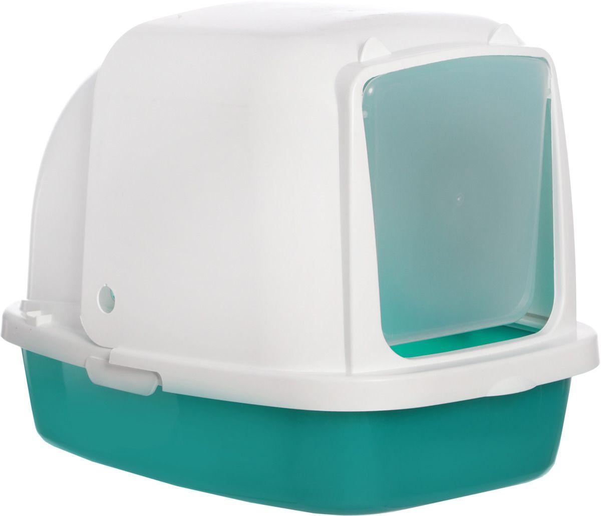 Туалет для кошек HOMECAT, прямоугольный, зеленый, белый,