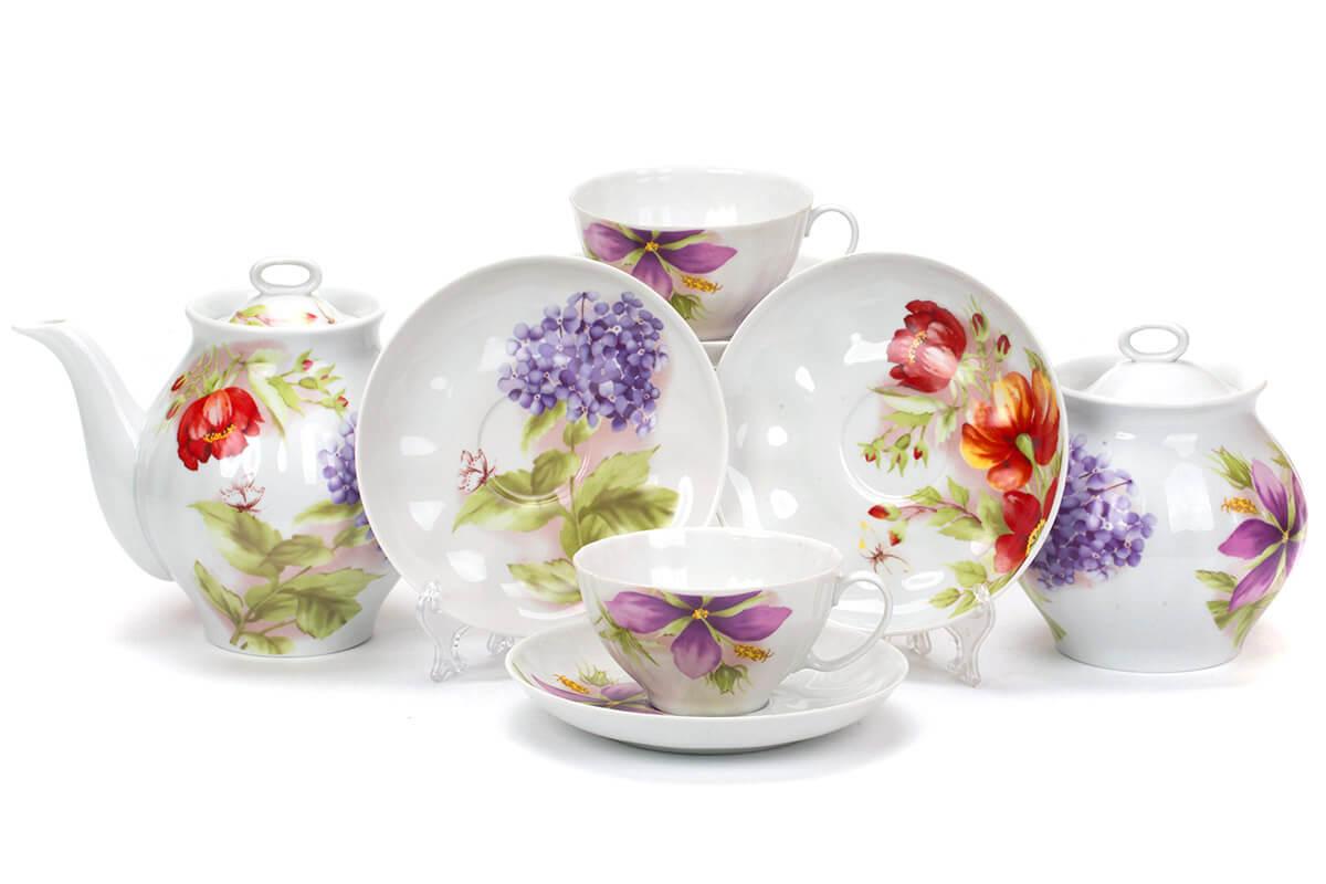 Чайный сервиз Дулево Белый лебедь Альпийские цветы