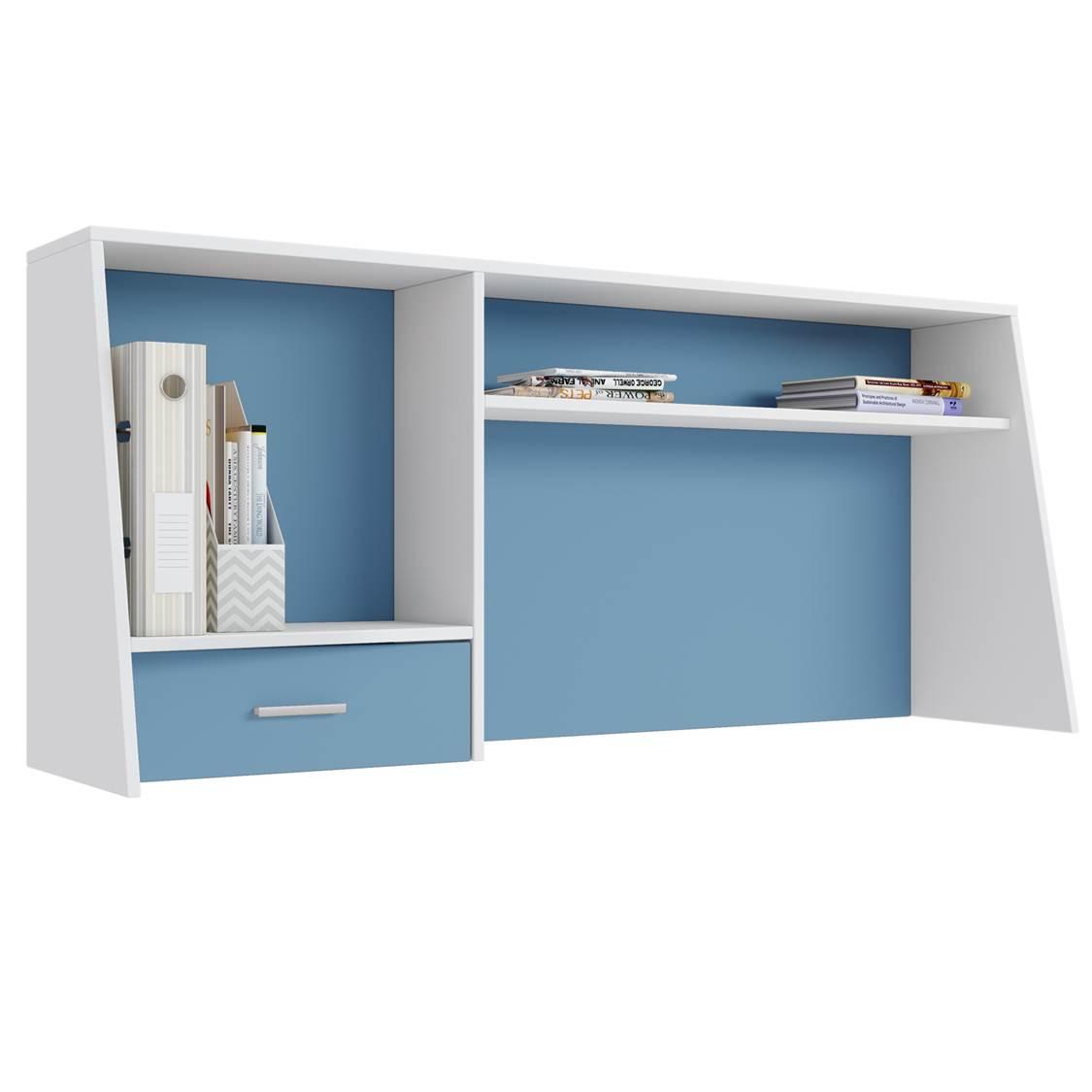 Надстройка для cтола Polini kids Aviv 1450 с ящиком и полкой, белый/голубой