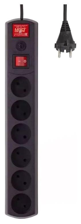 Сетевой фильтр MOST R, 6 розеток, 2 м, Black