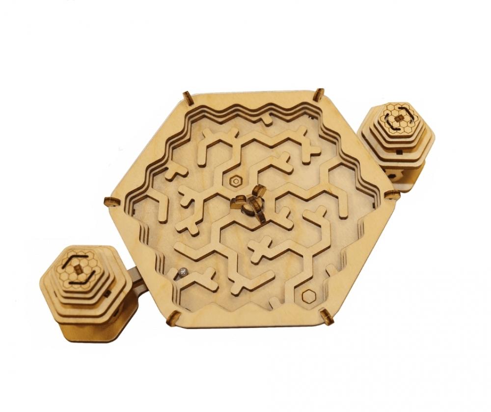 Купить Конструктор деревянный Uniwood Лабиринт Пчелы и мед, Деревянные конструкторы