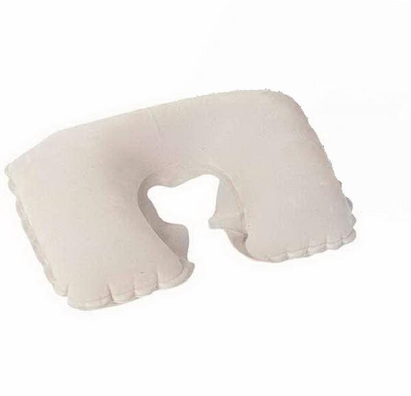 Надувная подушка под шею Flocked Travel Pillow 46х28 см, цвет Белый