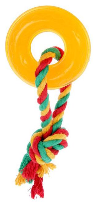 Жевательная игрушка для собак DOGLIKE Кольцо Мини с этикеткой и канатом, 23 см