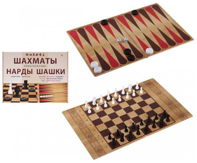 Набор 3 в 1: шахматы, шашки, нарды