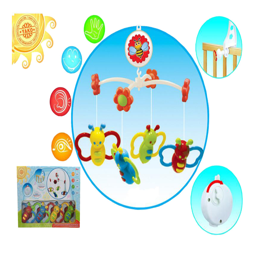 Мобиль механический YAKO Toys Музыкальная карусель Бабочки