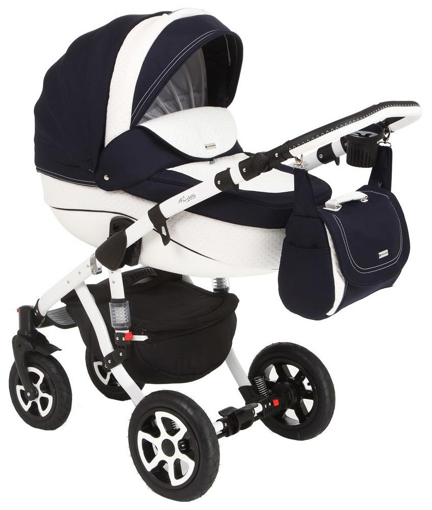 Купить Коляска 2 в 1 Adamex Barletta ECO белая кожа с синим GL000176105, Детские коляски 2 в 1