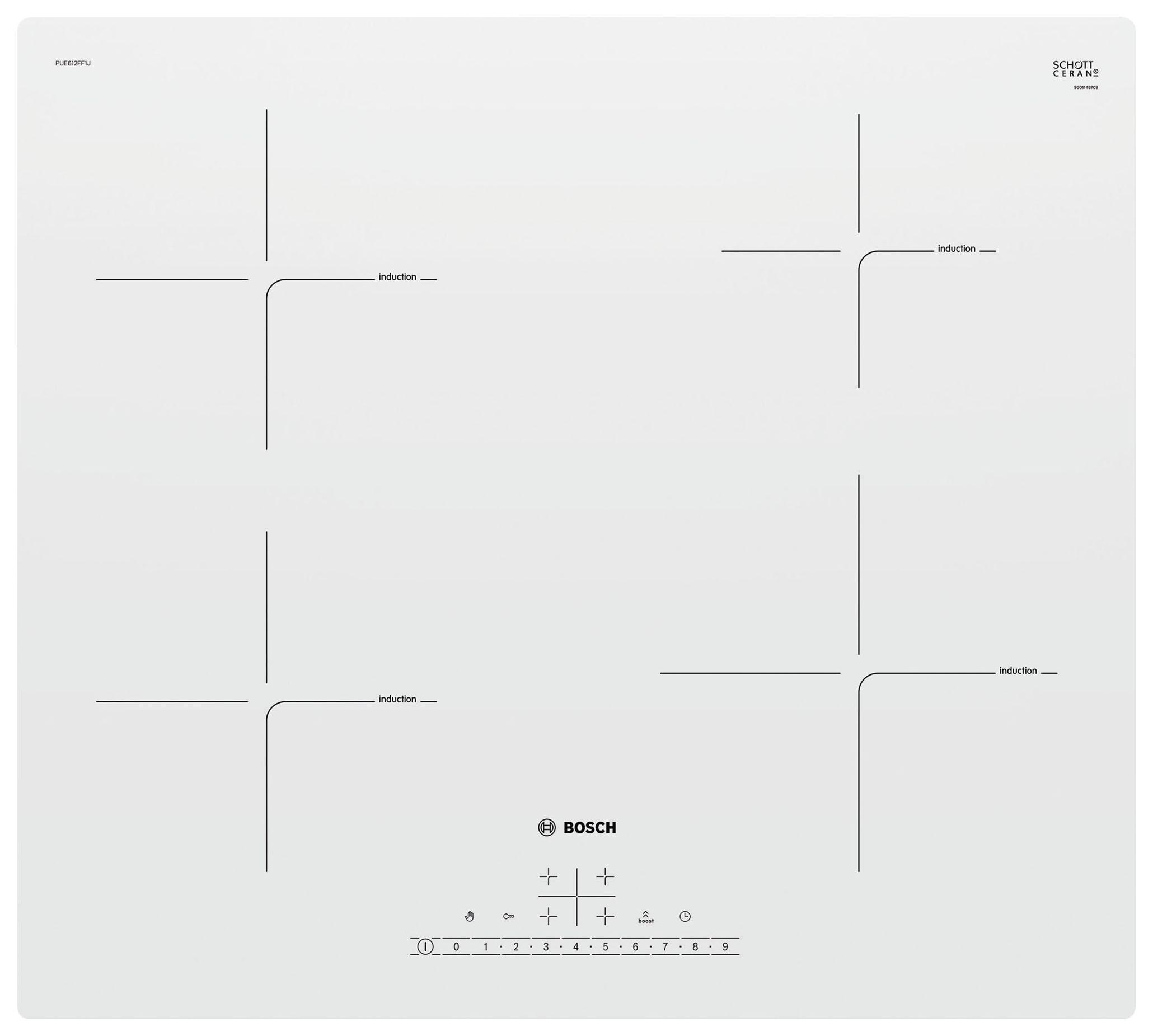 Встраиваемая варочная панель индукционная Bosch PUE612FF1J White