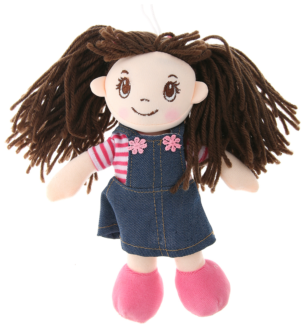 Купить Кукла мягконабивная, 20 см (в джинсовом сарафане и тельняшке), ABtoys, Классические куклы