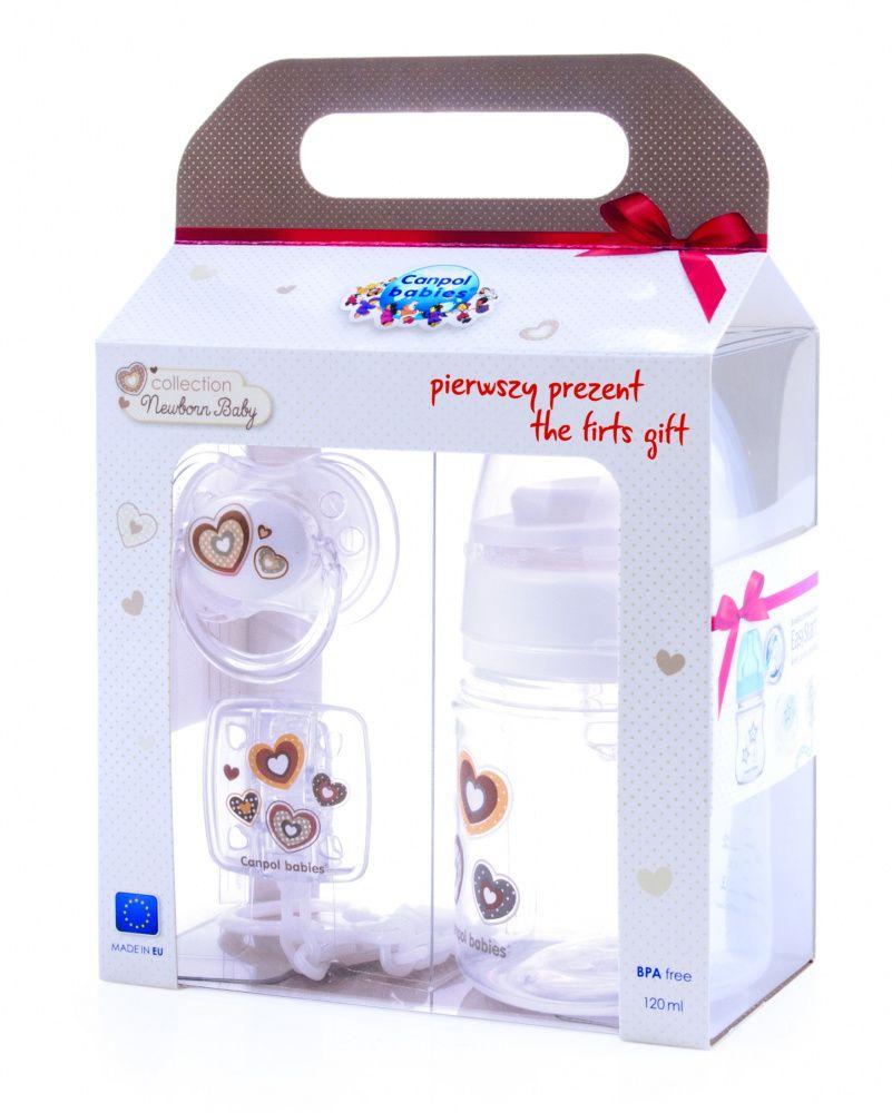 Набор Canpol Newborn baby бутылочка антиколик.120 мл, 0м+, пустышка, клипса для пустышки