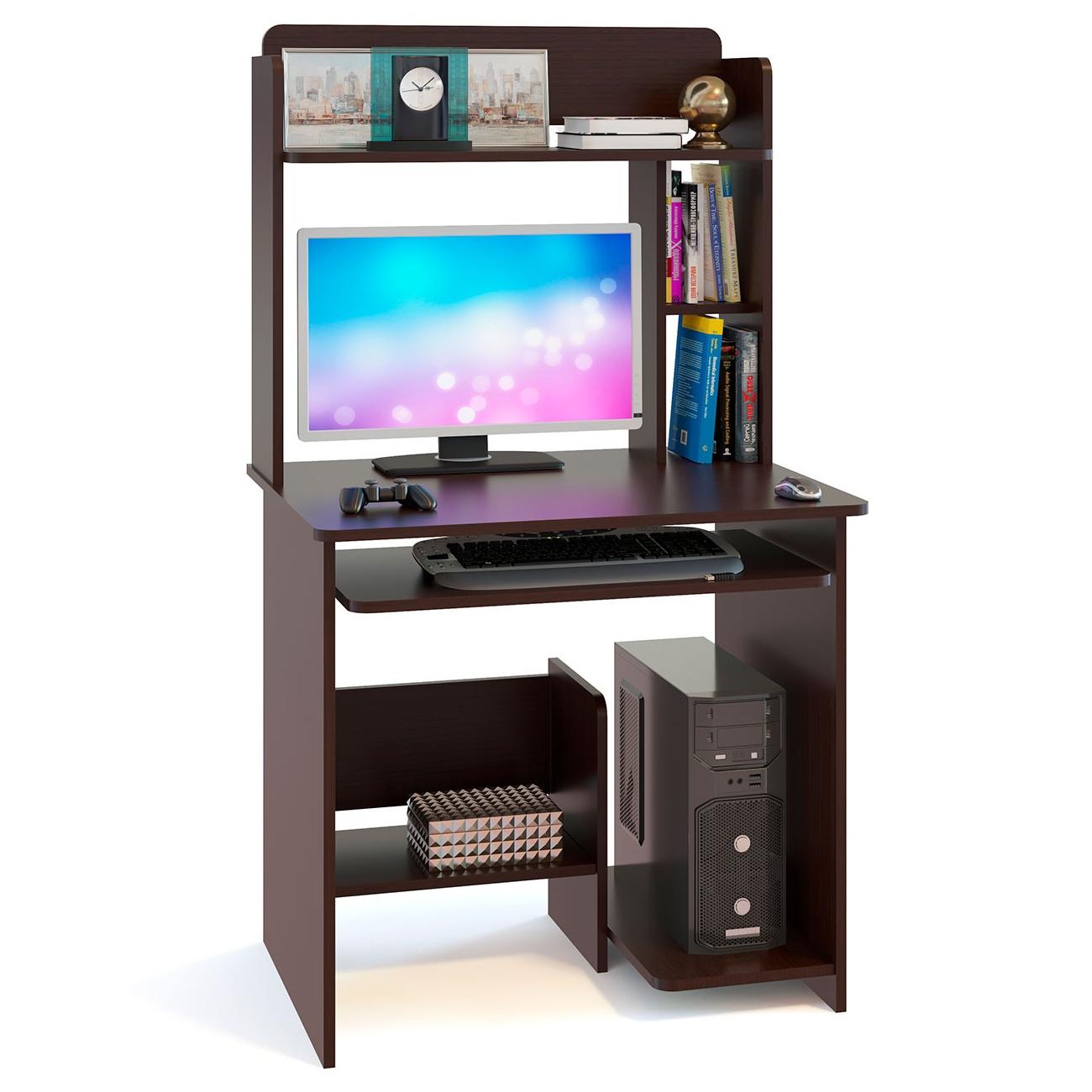 Компьютерный стол в комплекте СОКОЛ КСТ-01.1+КН-12 80x60x142, дуб венге