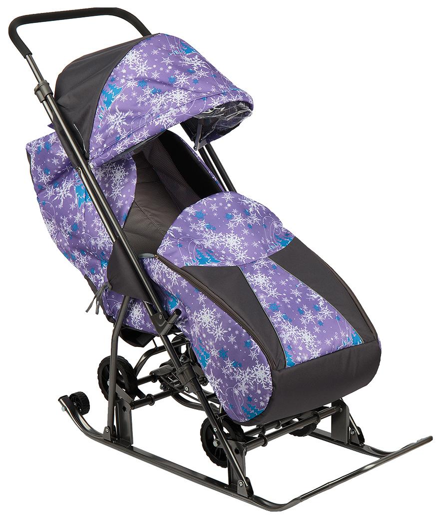 Санки-коляска Galaxy Снежинка Универсал Елки на фиолетовом