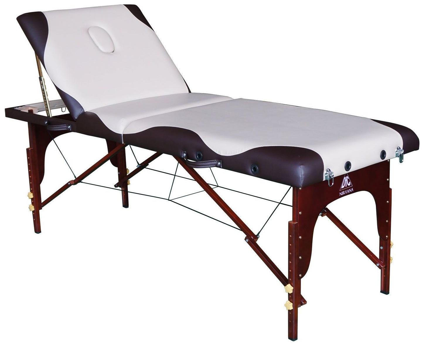 Массажный стол DFC Nirvana Relax Pro бежевый/коричневый фото