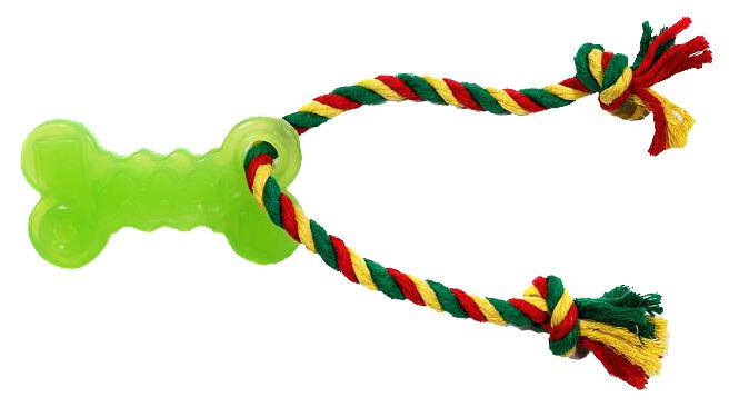 Жевательная игрушка для собак DOGLIKE Кость малая с канатом и этикеткой, длина 35 см