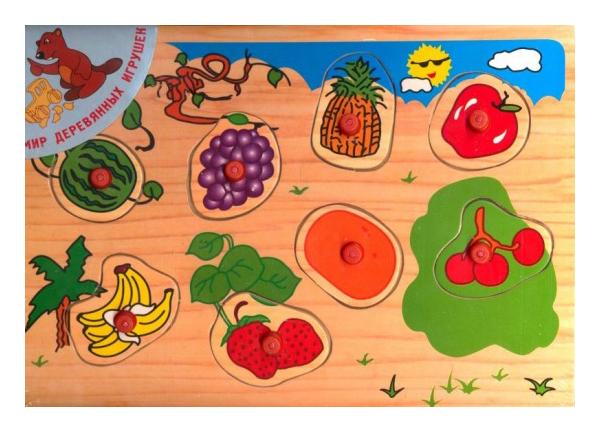 Деревянные пазлы Рыжий кот Фрукты и ягоды