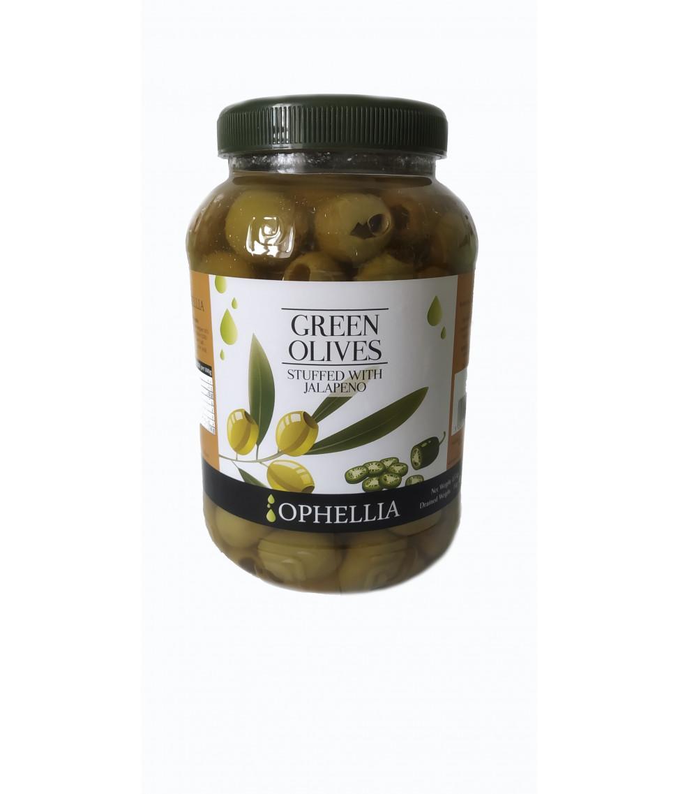 Зеленые оливки Ophellia фаршированные перцем халапеньо 1500 г
