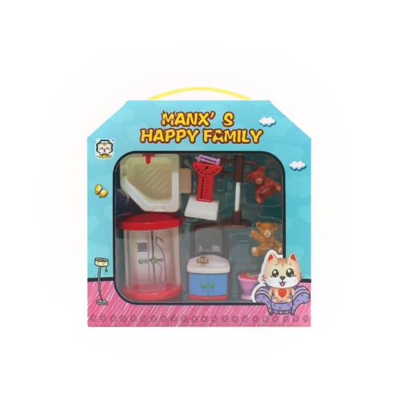 Набор мебели для кукол Manx' s Happy Family - Ванная, 8 предметов