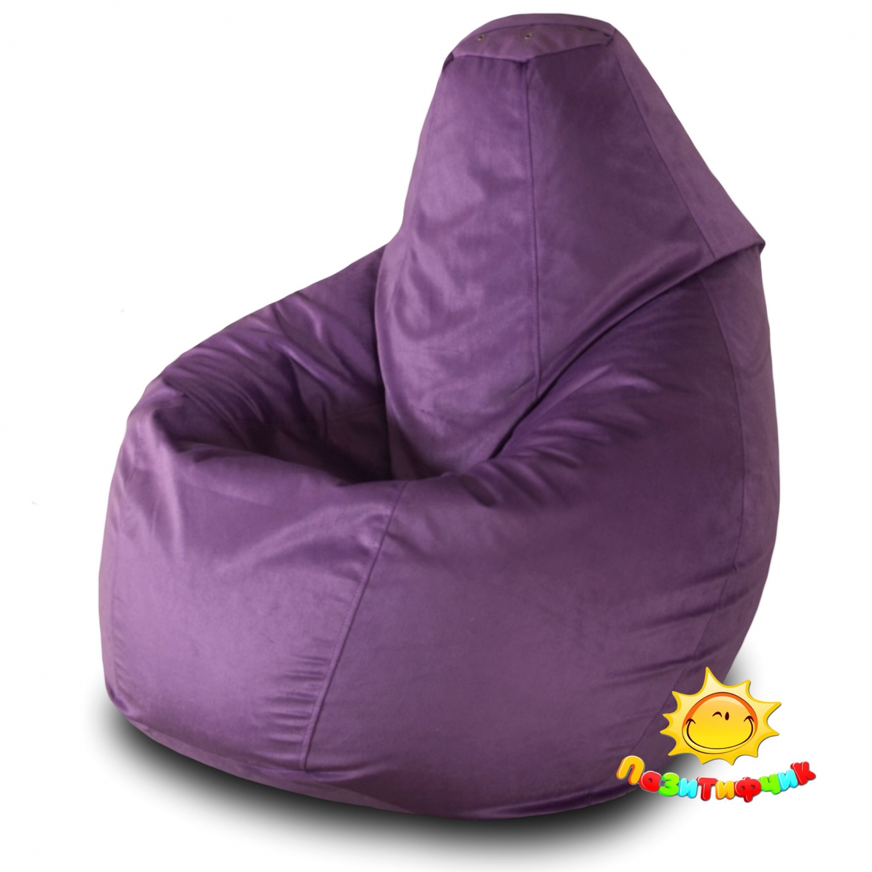 Кресло-мешок Pazitif Груша Пазитифчик Баклажан 04, размер XL, велюр, баклажан