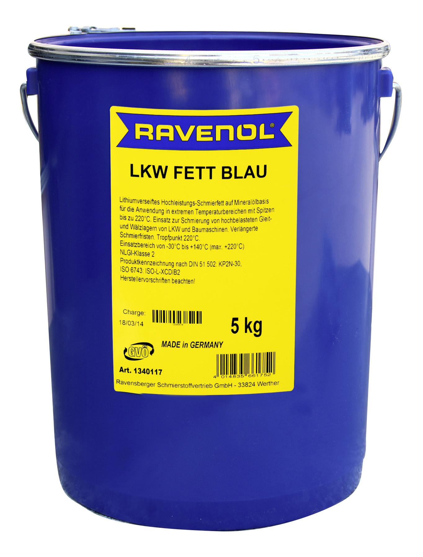 Универсальная смазка RAVENOL LKW Fett Blau (5л)