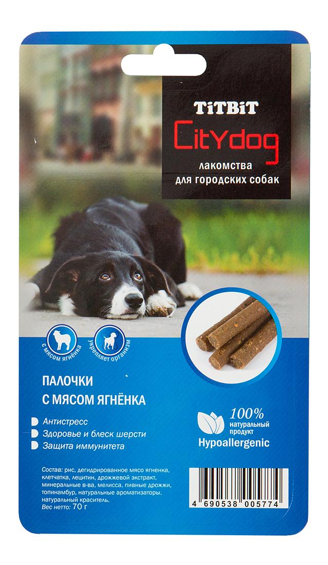 Лакомство для собак TiTBiT, снек City Dog палочки с мясом ягненка Б2-S, 70г фото