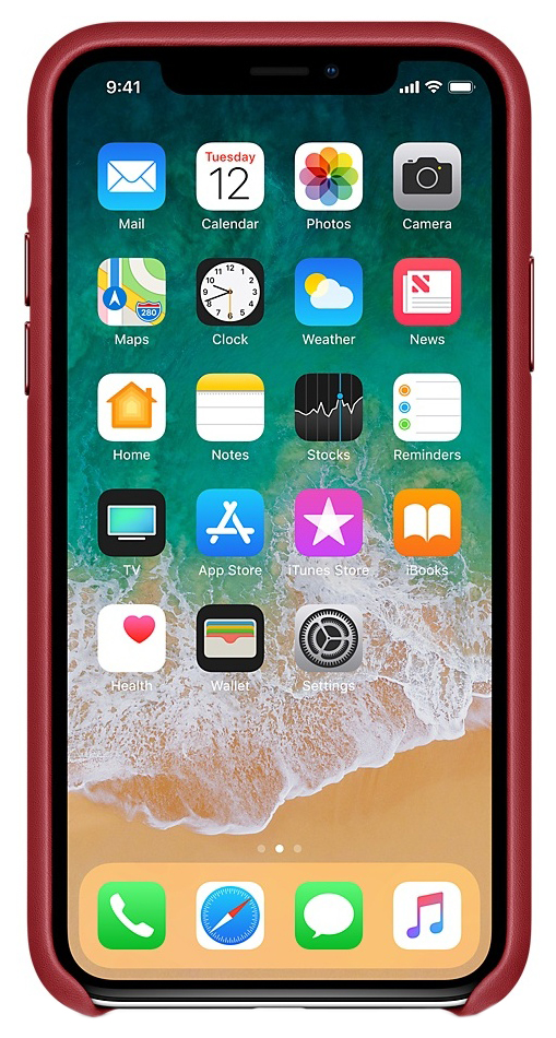 Накладка Apple Leather Case Red для iPhone X