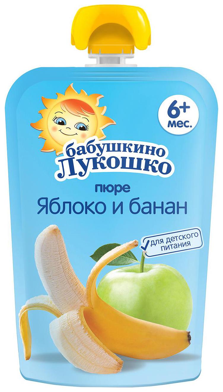 Купить Яблоко-банан 90 г, Пюре фруктовое Бабушкино Лукошко Яблоко-банан с 6 мес 90 г, Детское пюре