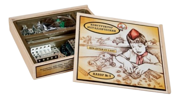Купить Конструктор металлический №1 деревянная упаковка 206 деталей Тридевятое царство, Металлические конструкторы