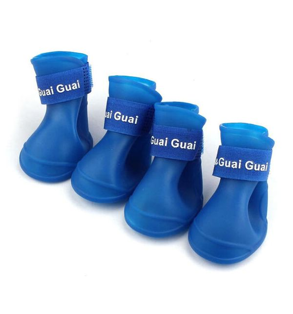 Ботинки для собак Грызлик Ам, силиконовые, голубые,