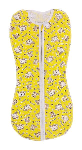 Пеленка-кокон на молнии, желтая, 50-68 см Детская линия